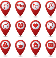 Map pointers with love icons vector image vector image
