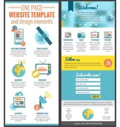 One page web site template vector image vector image