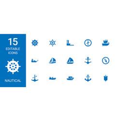15 nautical icons vector