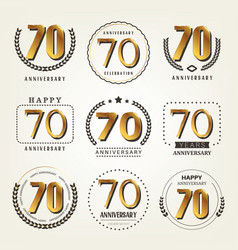70 years anniversary logo set vector image