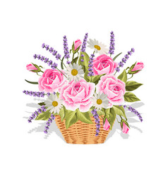 a basket full flowers on vector image