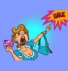 a woman with a credit card shouts discount sale vector image