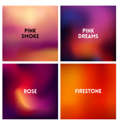 abstract red pink blurred background set 4 vector image