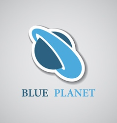 Abstract stylized blue planet icon vector