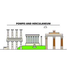 archaeological areas of pompei -herculaneum and vector image