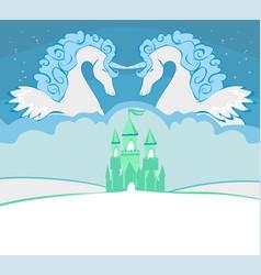 Beautiful unicorn and fairy-tale princess castle vector