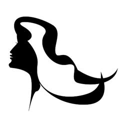 Beautiful women face with long hair vector