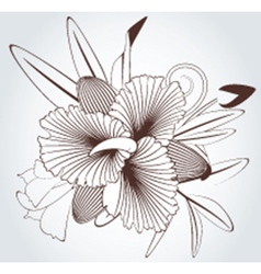 Black white flowers vector image