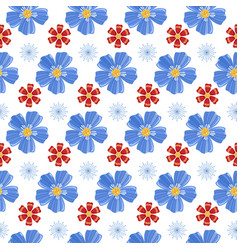 blue and red flowers seamless pattern vector image