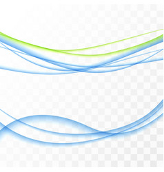 Blue to yellow swoosh abstract lines set vector