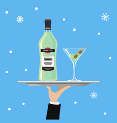 bottle of martini and glass on tray on blue vector image