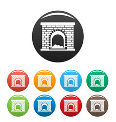 Brick fireplace icons set color vector