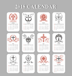 Calendar template easter crucifix design vector