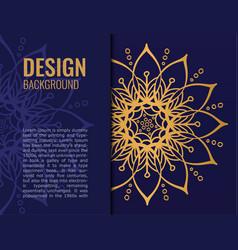 card gold mandala on dark blue background elegant vector image