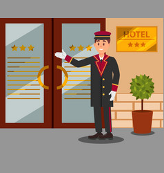 Cheerful doorman standing in front of hotel vector
