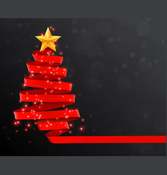 Christmas tree made of red ribbon on dark vector