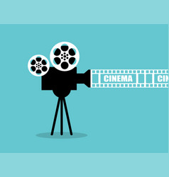 cinema poster template on blue background tape vector image