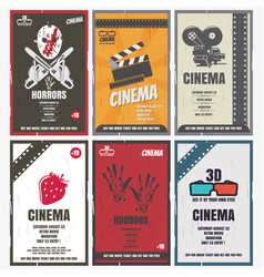 Cinema retro posters for movies different vector