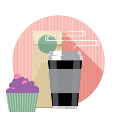 Coffee cup and cake vector image