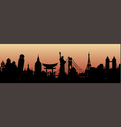 Collection architectural landmarks painted by vector