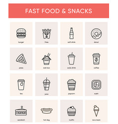 collection of 16 black fast food icons vector image
