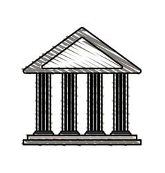 Color crayon stripe cartoon sketch parthenon vector