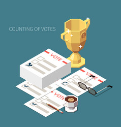 Counting votes isometric background vector