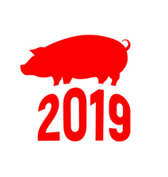 cute red pig happy new year chinese symbol the vector image