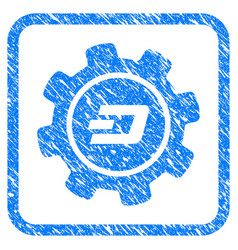 Dash settings gear framed stamp vector
