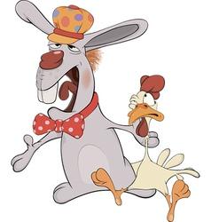 Easter rabbit and a cockerel cartoon vector image