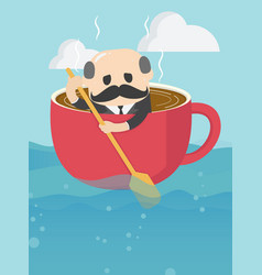 Elderly businessman who is in a cup coffee and vector