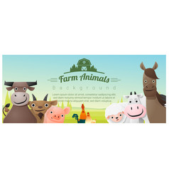 Farm animals and rural landscape background vector