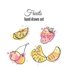 fruit set hand drawn fresh vector image