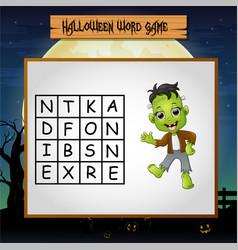 Game halloween find the word of frankenstein vector