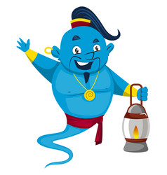 Genie with lamp on white background vector