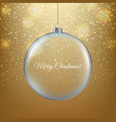 ghristmas ball with golden background vector image