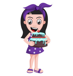 girl holding birthday cake on white background vector image