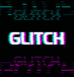 glitch effect colorful on dark vector image