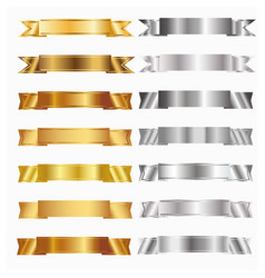 Gold and silver banners vector