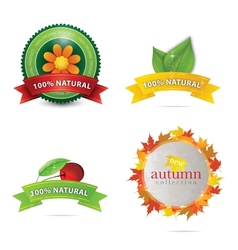 green eco and bio emblems set vector image