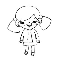 Grunge happy girl child with two tails vector