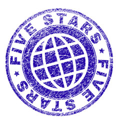 grunge textured five stars stamp seal vector image