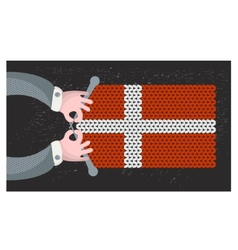 Hand made flag of Denmark vector