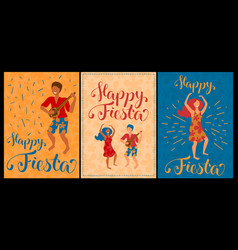 happy fiesta set of cards with dancing couple vector image