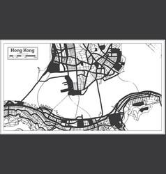 Hong kong china city map in black and white color vector