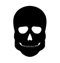 human skeleton skull front side silhouette vector image