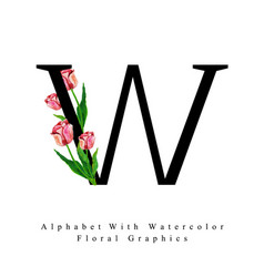 Letter w watercolor floral background vector