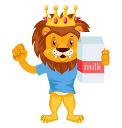 lion with milk on white background vector image