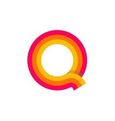 logo letter q red glowing vector image