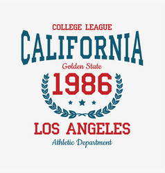 los angeles college typography for t-shirt vector image